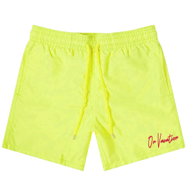 On Vacation Signature Swim Shorts - Neon