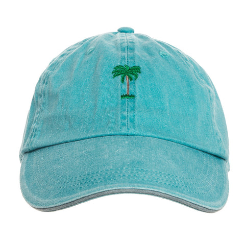 On Vacation Palms Cap Washed Blue