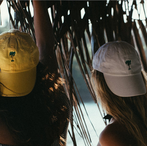 On Vacation Palms Cap Washed Yellow