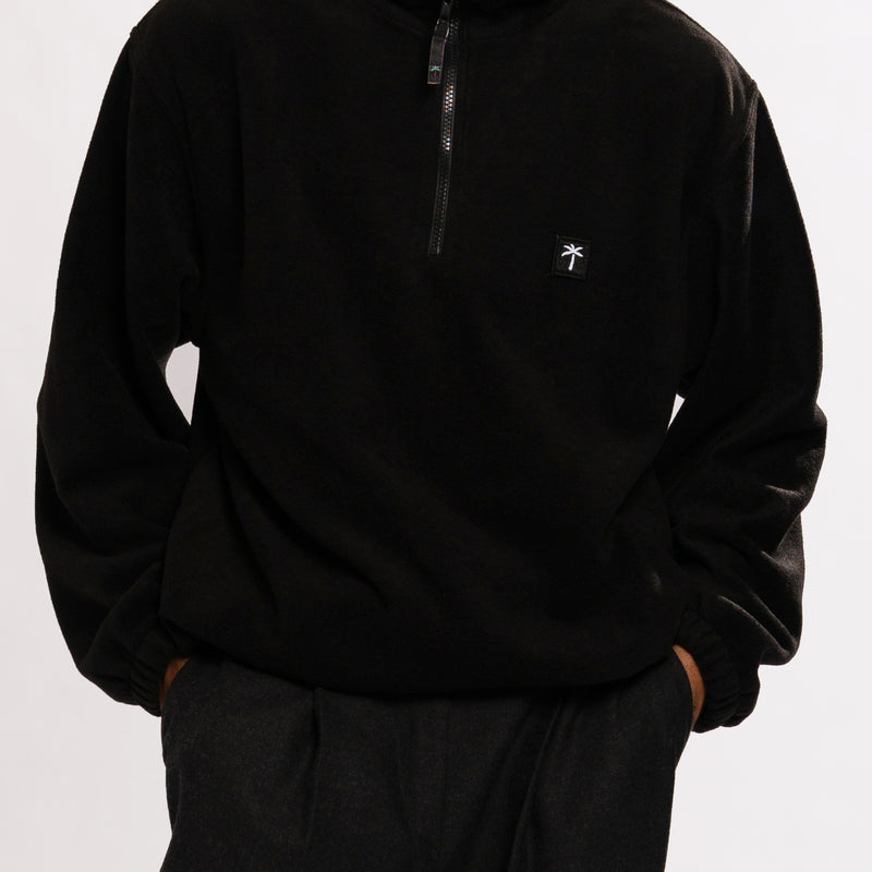 Palms Patch Fleece Zip Sweater - Black