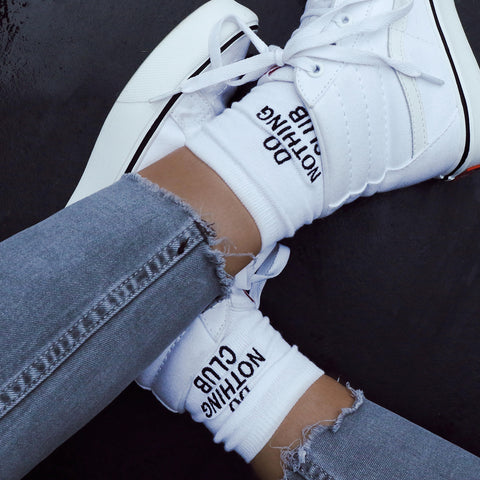 Do Nothing Club Socks White
