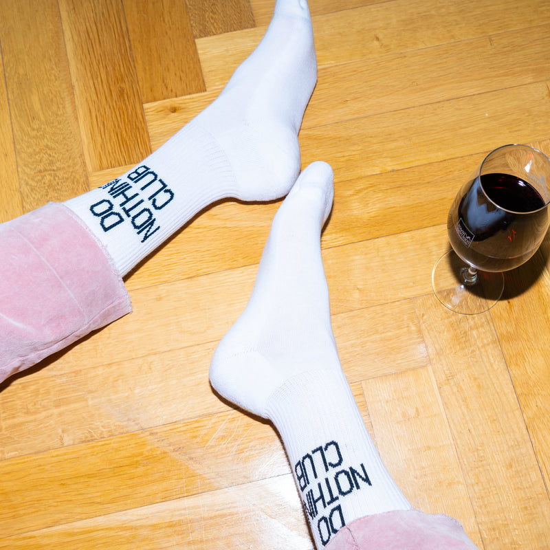 Do Nothing Club Tennis Socks White