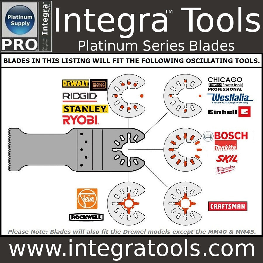 "Integra® Tools Platinum Blades 1-3/4"" Bi-Metal Wood/Plastic/Metal Oscillating Multitool Saw Blade (15-item)"