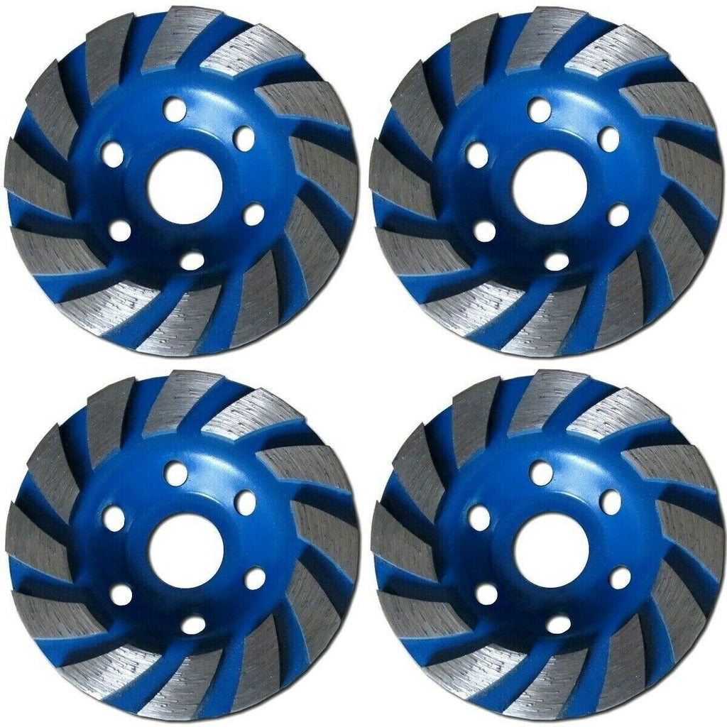 "4 PACK - 4"" Concrete Turbo Diamond Grinding Cup Wheel for Angle Grinder 12 Segs"