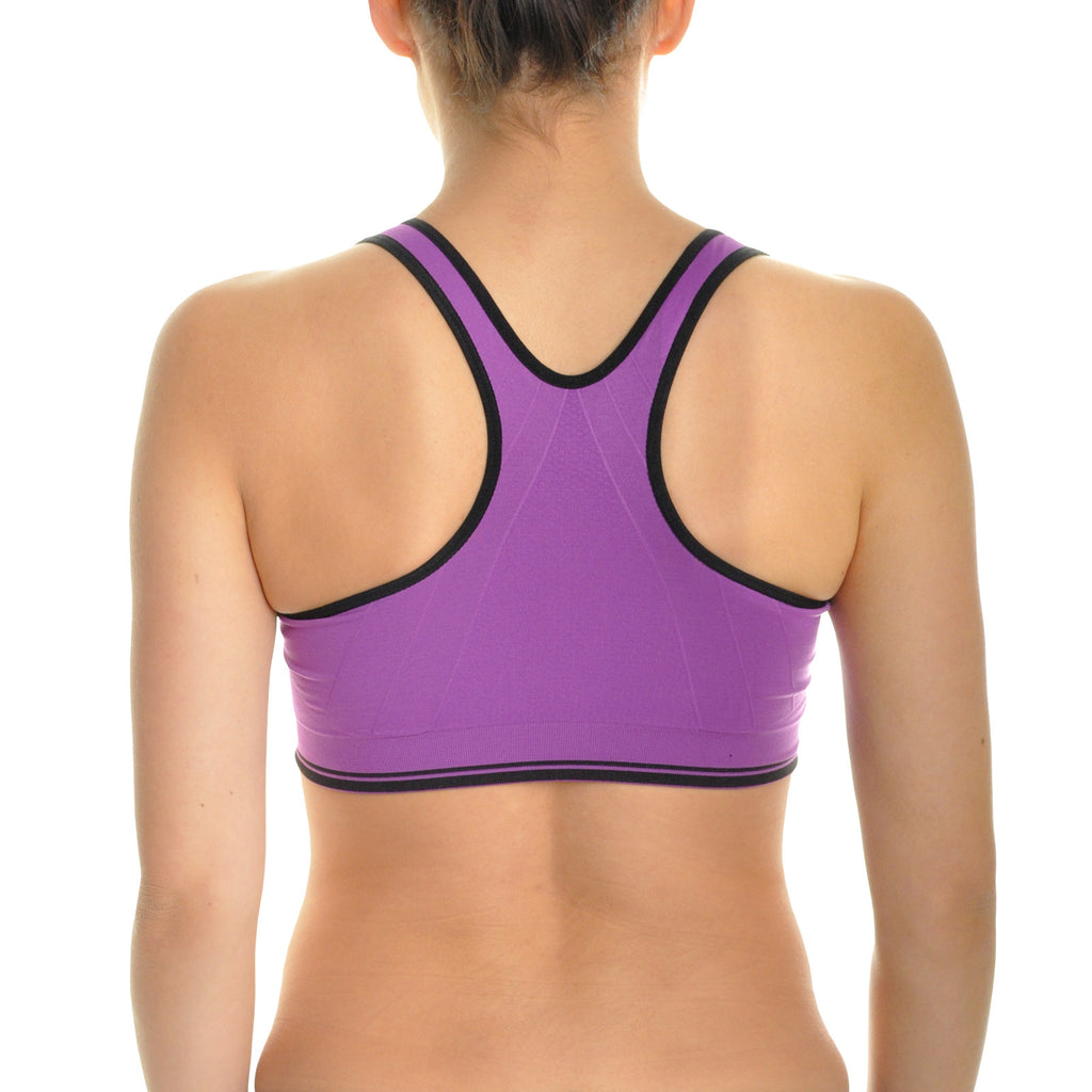 Angelina Wire-Free Seamless Sports Bra with Front-Zip Closure (6-Pack)