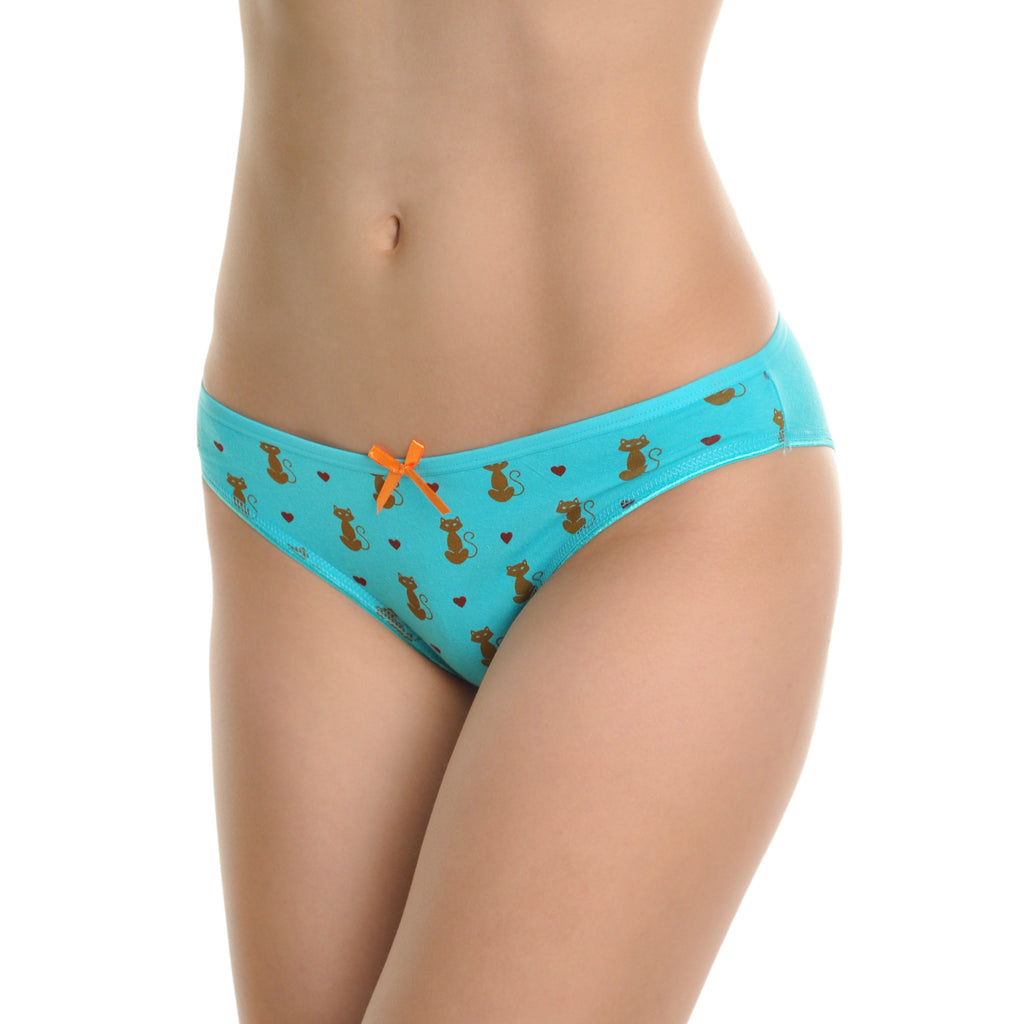 Angelina Cotton Bikini Panties with Cat Print Design (6-Pack)
