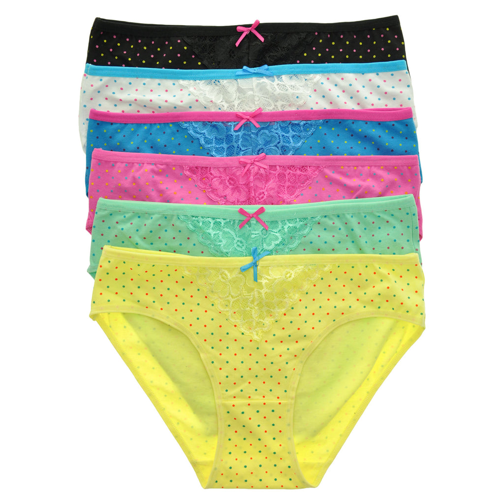 Angelina Cotton Hiphuggers with Polka Dot Print (6-Pack)
