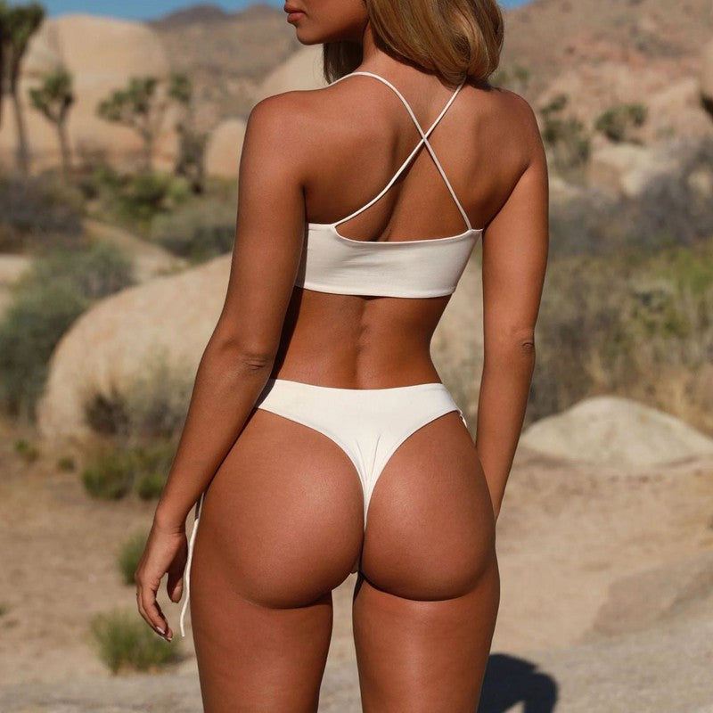 Bikinx Brazilian thong women bathing suit Bandage white swimsuit female Push up sexy swimwear Hollow out high cut bikini 2018