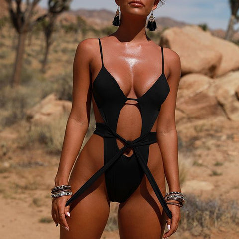 Bikinx Rivet sexy waist one-piece suits Black belt swimsuit 2018 Hollow out push up bikini High cut bathing suit women swimwear