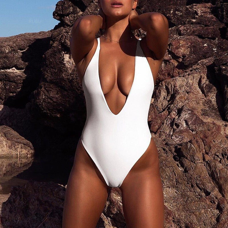 Bikinx Sexy deep V Brazilian bikini set swim one piece swimsuit push up white bodysuit Sports swimwear women 2018 bathing suit