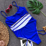 Bikinx Bandage one-piece swimsuit solid bikini 2018 Striped swimwear women summer swim suit High waist sexy push up bathing suit