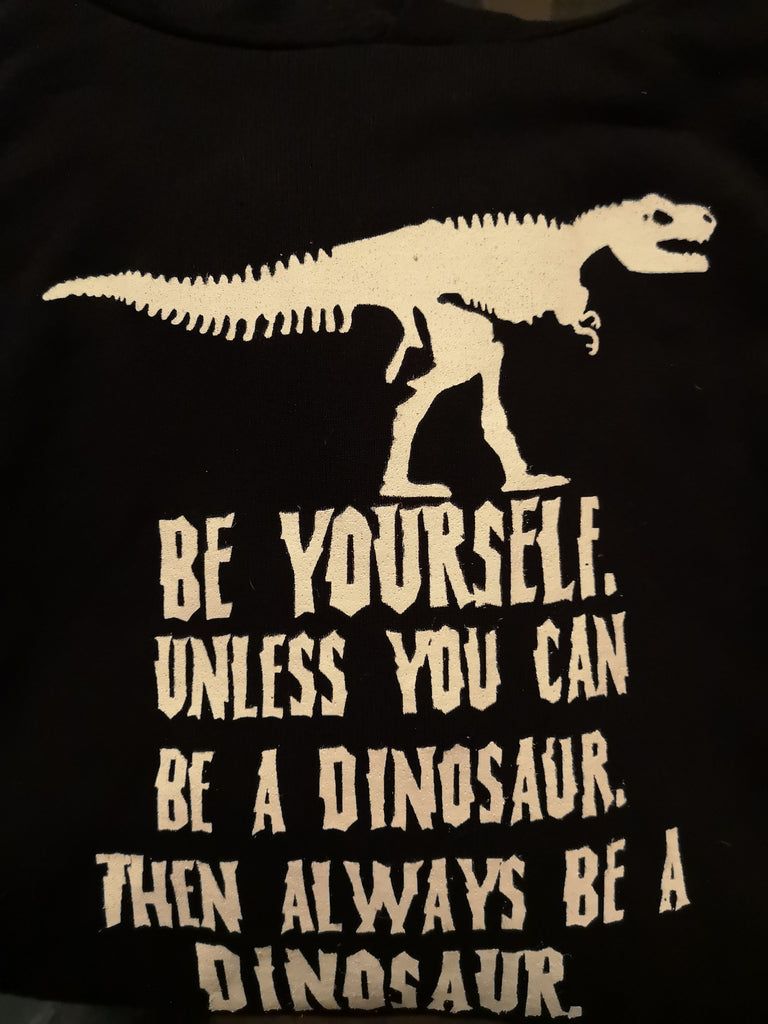 Be yourself, unless you can be a dinosaur, then always be a dinosaur - M - Hoody