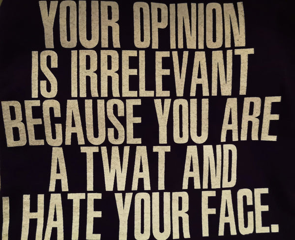 Your opinion is irrelevant because you are a twat and I hate your face - M or L - Purple Standard T-Shirt