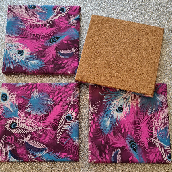 Funky Purple Design Ceramic Coasters
