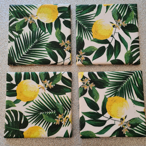 Lemon & Palm Design Ceramic Coasters