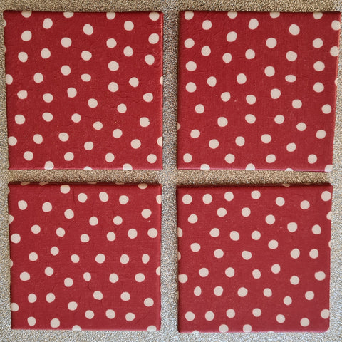 Red Polka Dot Design Ceramic Coasters