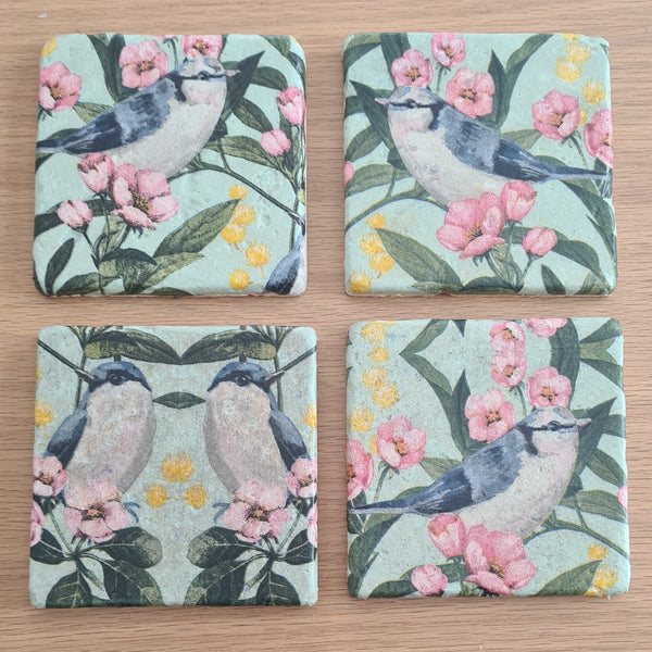 Colourful Bird Design Stone Coasters