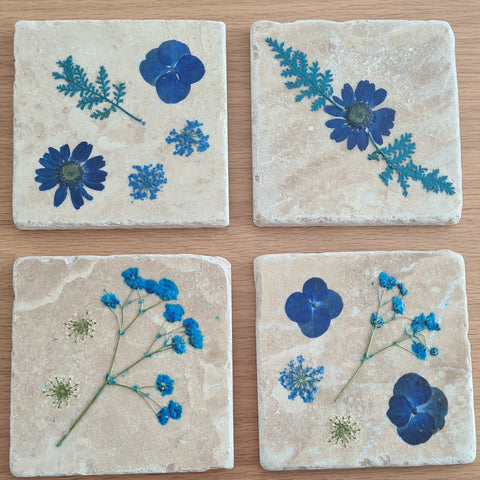 Pressed Flower Stone Coasters