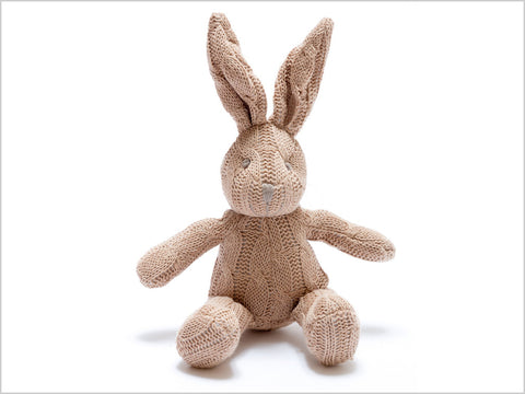 Cable knit organic bunny rattle