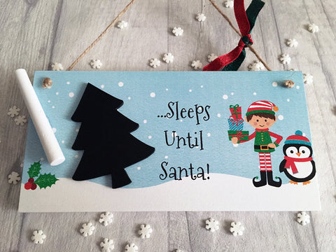 Sleeps until Santa Christmas chalkboard countdown plaque