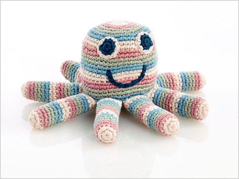 Octopus organic toy rattle