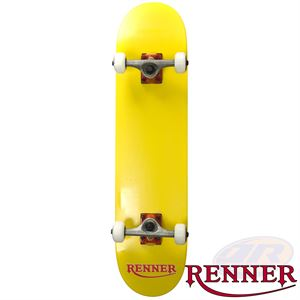 Renner Pro Series Complete Skateboard 7 Ply, Virus Trucks, Abec 9 - Yellow - Momma Trucker Skates