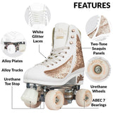 Crazy Skates Glam Quad Skates - White & Rose Gold - Momma Trucker Skates