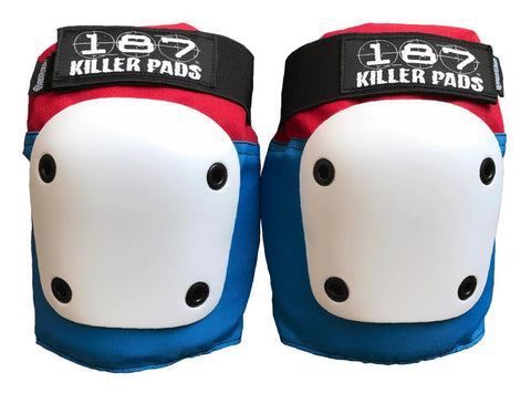 187 Killer Fly Knee Pads Blue & Red - Momma Trucker Skates