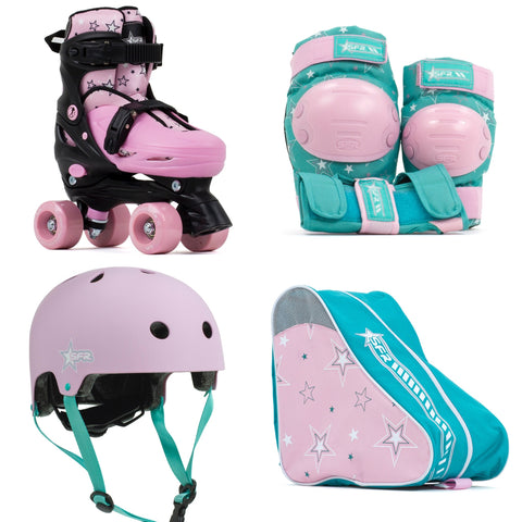 SFR Nebula Roller Skates, Protection & Bag Skate Package Gift Set - Pink