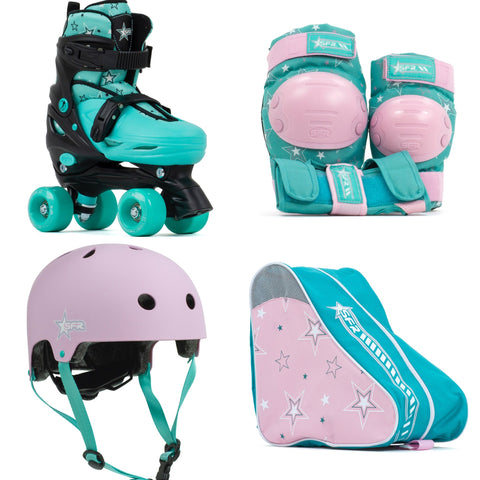 SFR Nebula Roller Skates, Protection & Bag Skate Package Gift Set - Green