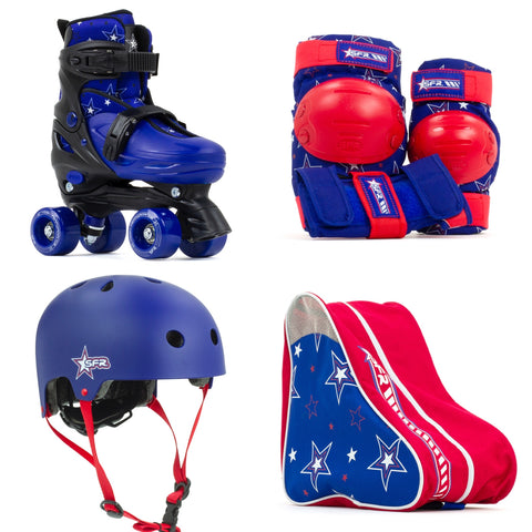 SFR Nebula Roller Skates, Protection & Bag Skate Package Gift Set - Blue