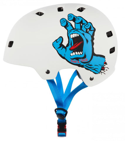 Bullet X Santa Cruz Skate Helmet Screaming Hand Matt White - Momma Trucker Skates