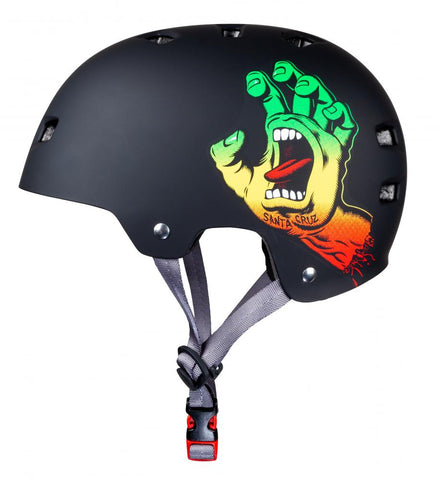 Bullet X Santa Cruz Skate Helmet Screaming Hand Matt Black Rasta - Momma Trucker Skates
