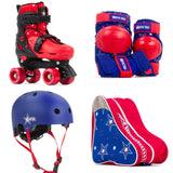 SFR Nebula Roller Skates, Protection & Bag Skate Package Gift Set - Red - Momma Trucker Skates