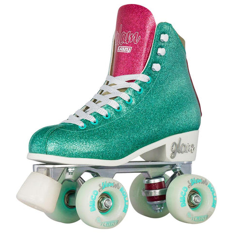 Crazy Skates Disco Glam Teal/Pink Roller Skates - UK2! - Momma Trucker Skates