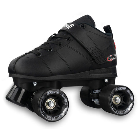Crazy Skates Rocket - Black Larger & Adult Sizes - Momma Trucker Skates