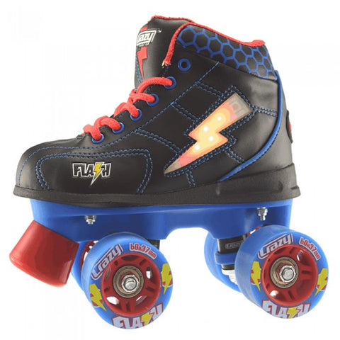 Crazy Skates Flash Roller Skates - Black & Blue - Momma Trucker Skates