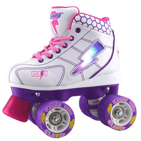 Crazy Skates Flash Roller Skates - White & Purple - Momma Trucker Skates