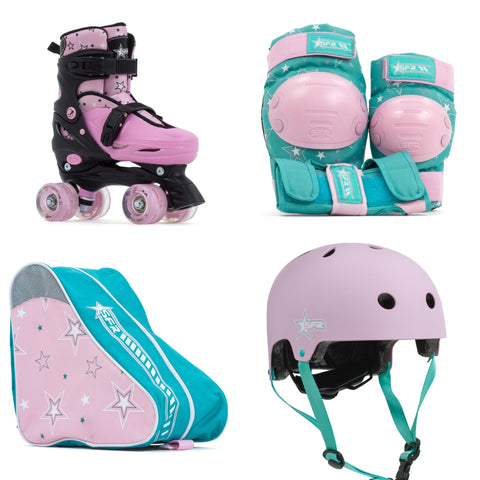 SFR Nebula Lights Adjustable Light Up Children's Quad Roller Skates - Pink - Momma Trucker Skates