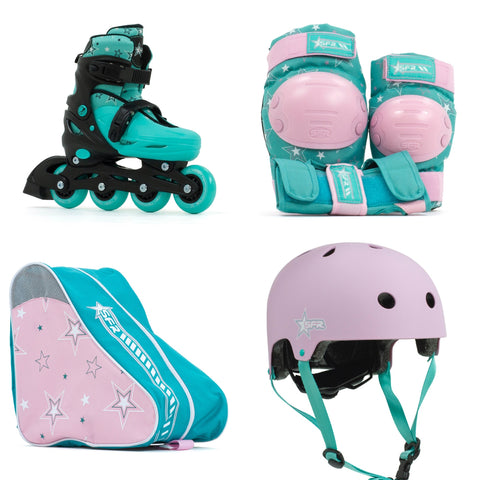 SFR Plasma Adjustable Children's Inline Skates - Teal Beginner Skate Package - inc Pads, Helmet & Bag