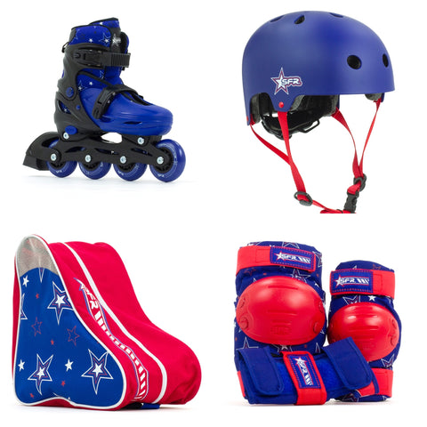 SFR Plasma Adjustable Children's Inline Skates Beginner Skate Package - Blue inc Pads, Helmet & Bag - Momma Trucker Skates
