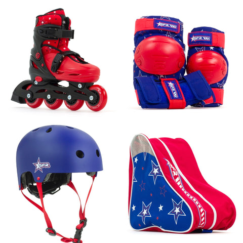 SFR Plasma Adjustable Children's Inline Skates - Red Beginner Skate Package - inc Pads, Helmet & Bag