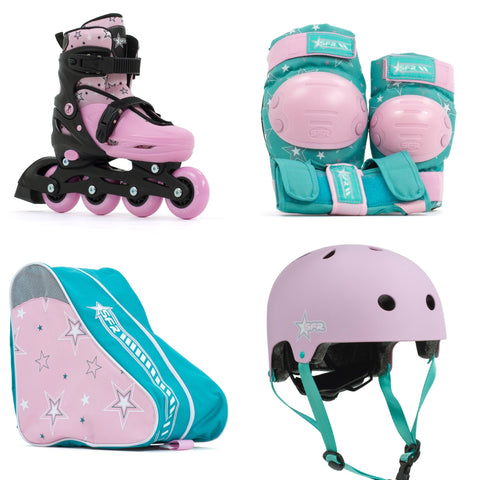 SFR Plasma Adjustable Children's Inline Skates - Pink Beginner Skate Package - inc Pads, Helmet & Bag