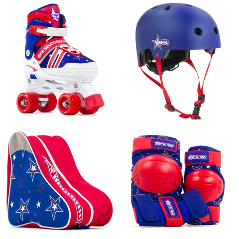 SFR Spectra Roller Skates Beginners Package Red & Blue, Pads, Helmet & Bag