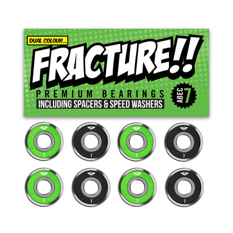 Fracture Premium Abec 7 Green & Black Bearings - Momma Trucker Skates