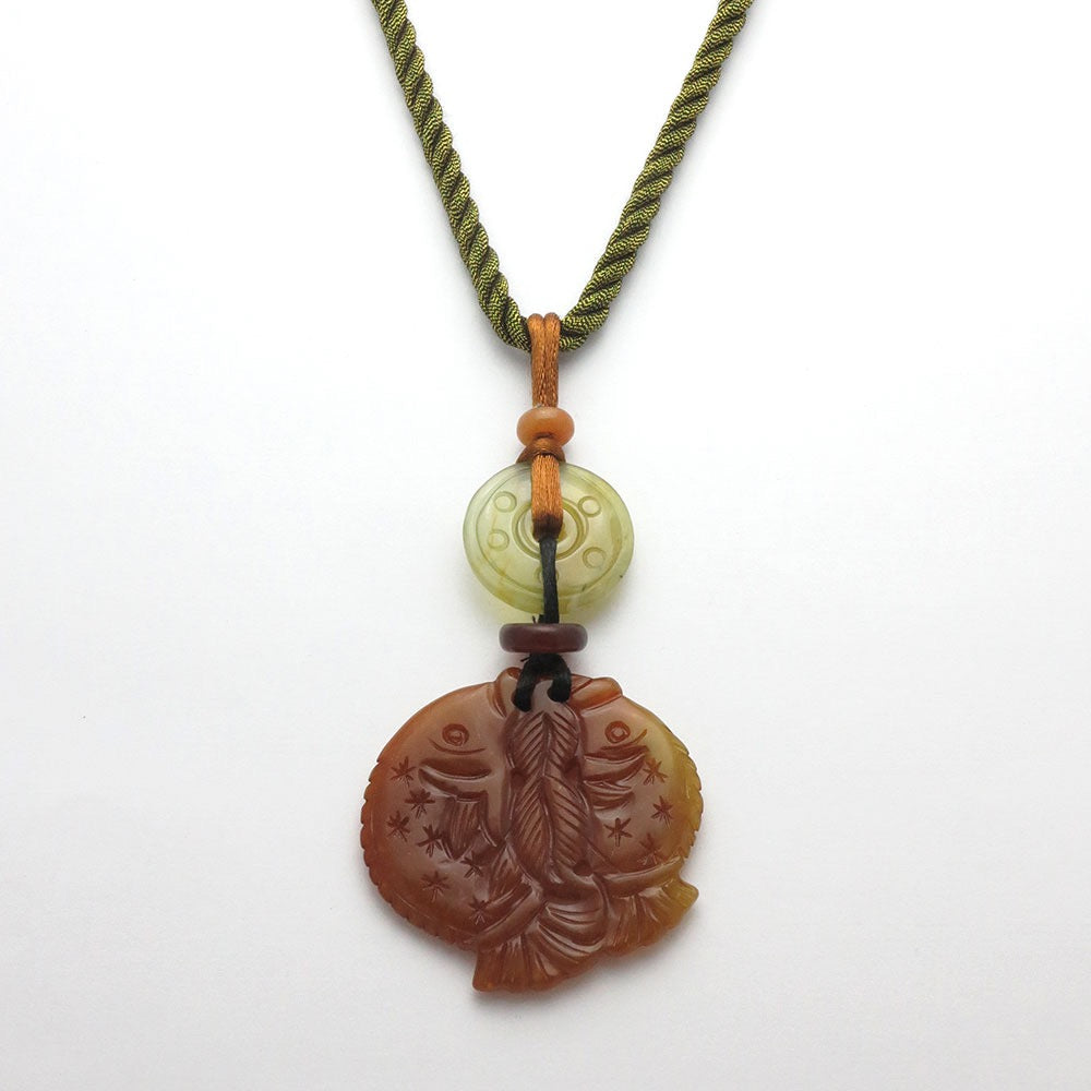 Jade Fish and Green Jade Disc Pendant Necklace - RetroJade Jewelry