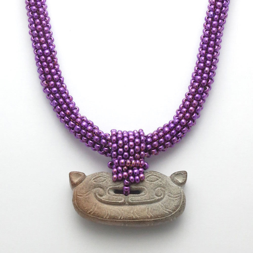 Purple Double Dragon Jade Necklace - RetroJade Jewelry