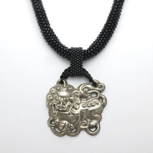 Silver Foo Dog Pendant Necklace - RetroJade Jewelry