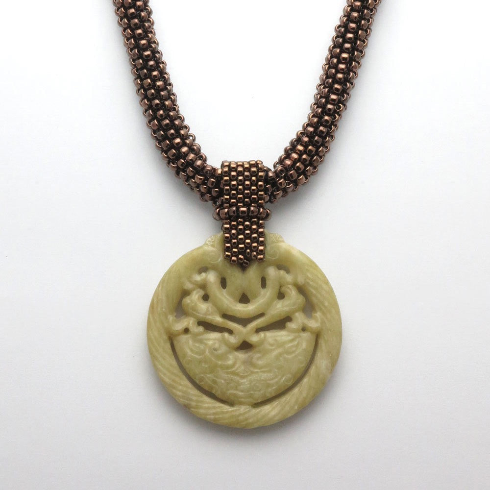 Jade Dragon Dance On Bronze - RetroJade Jewelry