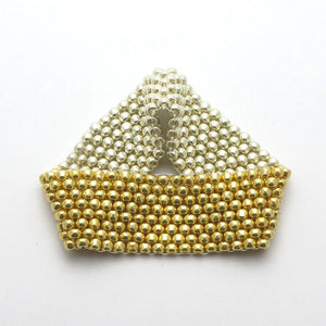Gold and Silver Beaded Cuff - RetroJade Jewelry